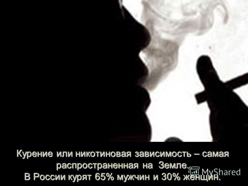 Курение или никотиновая зависимость – самая распространенная на Земле. В России курят 65% мужчин и 30% женщин.