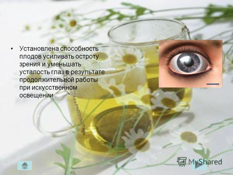 Установлена способность плодов усиливать остроту зрения и уменьшать усталость глаз в результате продолжительной работы при искусственном освещении.