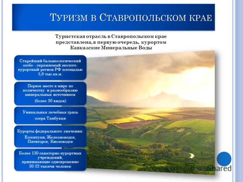 Т УРИЗМ В С ТАВРОПОЛЬСКОМ КРАЕ Туристская отрасль в Ставропольском крае представлена, в первую очередь, курортом Кавказские Минеральные Воды Старейший бальнеологический особо - охраняемый эколого- курортный регион РФ площадью 5,8 тыс.кв.м. Первое мес