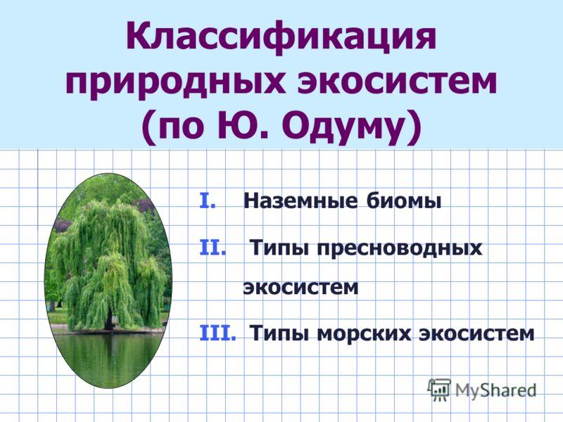I. Наземные биомы II. Типы пресноводных экосистем III. Типы морских экосистем Классификация природных экосистем (по Ю. Одуму)