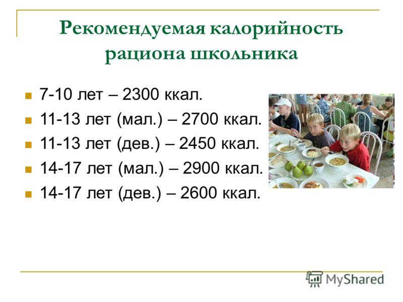 Рекомендуемая калорийность рациона школьника 7-10 лет – 2300 ккал. 11-13 лет (мал.) – 2700 ккал. 11-13 лет (дев.) – 2450 ккал. 14-17 лет (мал.) – 2900 ккал. 14-17 лет (дев.) – 2600 ккал.