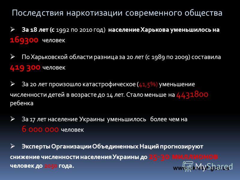 За 18 лет (с 1992 по 2010 год) население Харькова уменьшилось на 169300 человек По Харьковской области разница за 20 лет (с 1989 по 2009) составила 419 300 человек За 20 лет произошло катастрофическое (41,5%) уменьшение численности детей в возрасте д