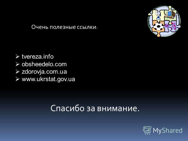 Спасибо за внимание. tvereza.info obsheedelo.com zdorovja.com.ua www.ukrstat.gov.ua Очень полезные ссылки :