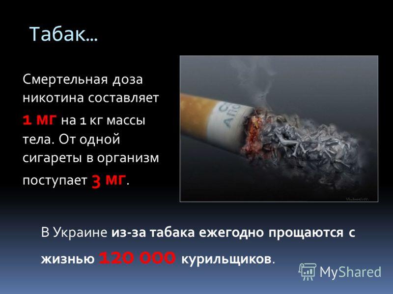 Табак… В Украине из-за табака ежегодно прощаются с жизнью 120 000 курильщиков. Смертельная доза никотина составляет 1 мг на 1 кг массы тела. От одной сигареты в организм поступает 3 мг.