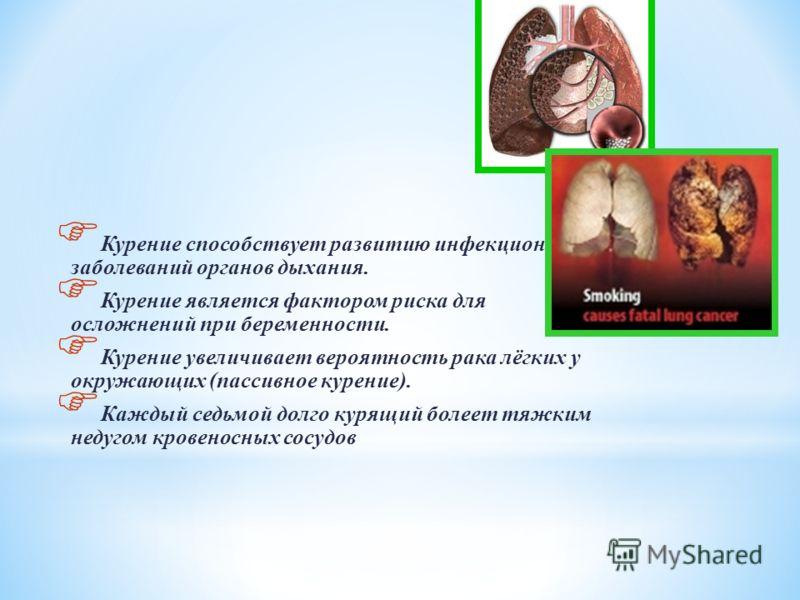Курение поражает органы дыхания, сердечно- сосудистую систему, желудочно-кишечный тракт. Курильщики болеют раком лёгких в несколько раз чаще, чем некурящие и составляют 96-100% всех больных раком лёгких. Курение увеличивает вероятность других видов з
