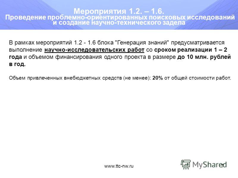 www.ttc-nw.ru6 Программные мероприятия Блок «Генерация знаний» Проведение проблемно-ориентированных поисковых исследований и создание научно-технического задела - мероприятия 1.2. – 1.6. Блок «Разработка технологий» Осуществление комплексных проектов