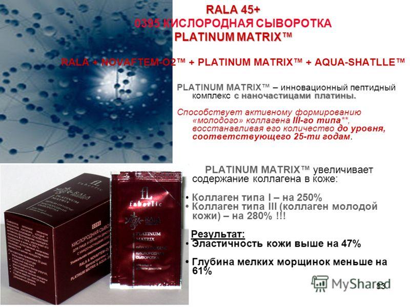 33 RALA 45+ PLATINUM MATRIX RALA 45+ 0395 КИСЛОРОДНАЯ СЫВОРОТКА PLATINUM MATRIX RALA + NOVAFTEM-O2 + PLATINUM MATRIX + AQUA-SHATLLE с наночастицами платины. PLATINUM MATRIX – инновационный пептидный комплекс с наночастицами платины. Способствует акти