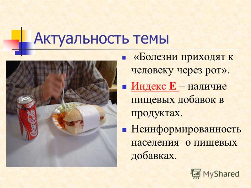 «Болезни приходят к человеку через рот». Индекс Е – наличие пищевых добавок в продуктах. Индекс Е Неинформированность населения о пищевых добавках. Актуальность темы