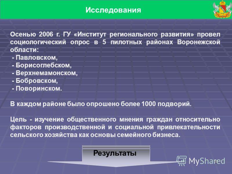 32 Исследования Осенью 2006 г. ГУ «Институт регионального развития» провел социологический опрос в 5 пилотных районах Воронежской области: - Павловском, - Борисоглебском, - Верхнемамонском, - Бобровском, - Поворинском. В каждом районе было опрошено б