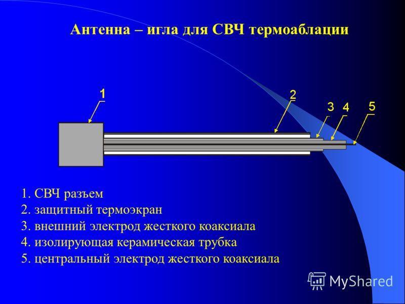 Антенна – игла для СВЧ термоаблации 1. СВЧ разъем 2. защитный термоэкран 3. внешний электрод жесткого коаксиала 4. изолирующая керамическая трубка 5. центральный электрод жесткого коаксиала