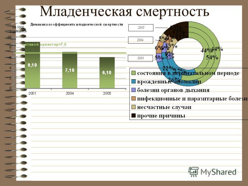 Младенческая смертность.2005 2004.2003