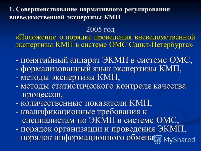 2005 год «Положение о порядке проведения вневедомственной экспертизы КМП в системе ОМС Санкт-Петербурга» - понятийный аппарат ЭКМП в системе ОМС, - формализованный язык экспертизы КМП, - методы экспертизы КМП, - методы статистического контроля качест
