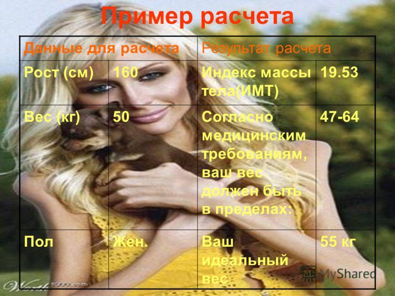 Пример расчета Данные для расчетаРезультат расчета Рост (см)160Индекс массы тела(ИМТ) 19.53 Вес (кг)50Согласно медицинским требованиям, ваш вес должен быть в пределах: 47-64 ПолЖен.Ваш идеальный вес 55 кг