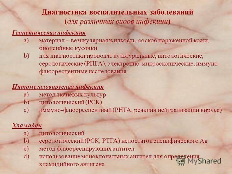 Диагностика воспалительных заболеваний женских половых органов