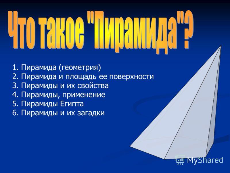 1. Пирамида (геометрия) 2. Пирамида и площадь ее поверхности 3. Пирамиды и их свойства 4. Пирамиды, применение 5. Пирамиды Египта 6. Пирамиды и их загадки