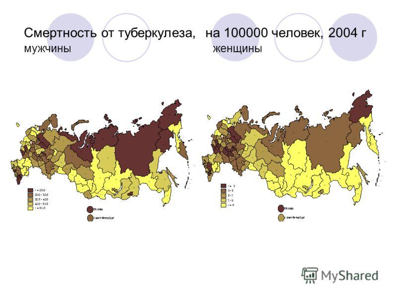 Смертность от туберкулеза, на 100000 человек, 2004 г мужчины женщины
