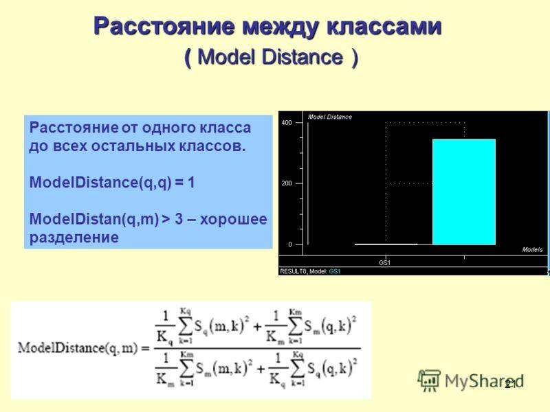 21 Расстояние между классами ( Model Distance ) Расстояние от одного класса до всех остальных классов. ModelDistance(q,q) = 1 ModelDistan(q,m) > 3 – хорошее разделение