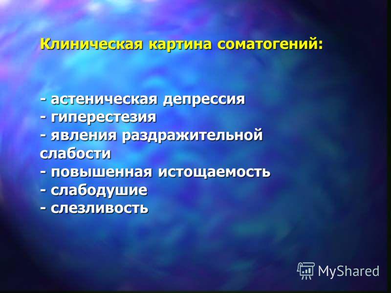 Клиническая картина соматогений: - астеническая депрессия - гиперестезия - явления раздражительной слабости - повышенная истощаемость - слабодушие - слезливость