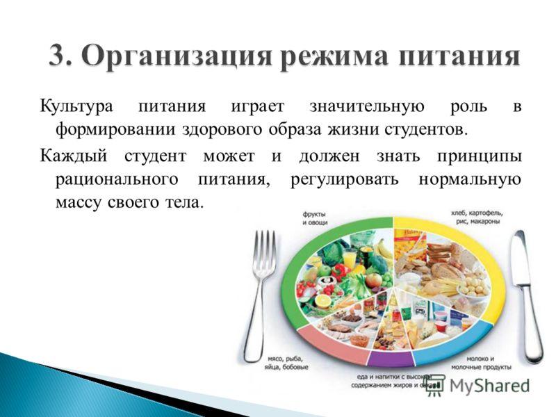 Культура питания играет значительную роль в формировании здорового образа жизни студентов. Каждый студент может и должен знать принципы рационального питания, регулировать нормальную массу своего тела.