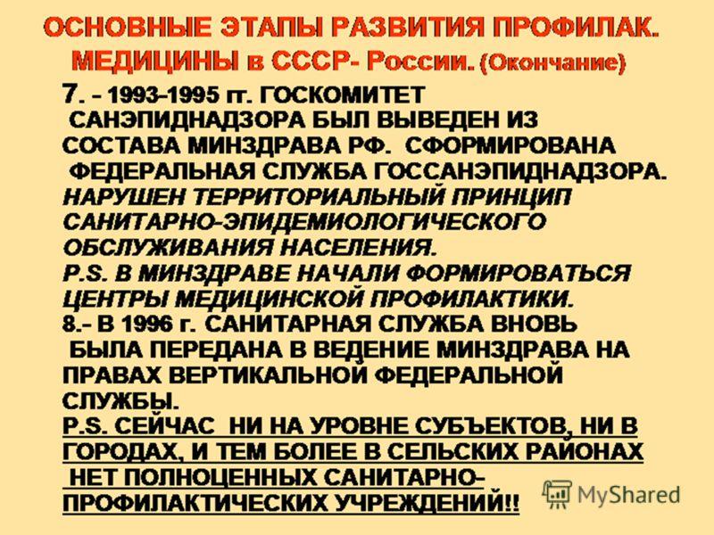 7. - 1993-1995 гг. ГОСКОМИТЕТ САНЭПИДНАДЗОРА БЫЛ ВЫВЕДЕН ИЗ СОСТАВА МИНЗДРАВА РФ. СФОРМИРОВАНА ФЕДЕРАЛЬНАЯ СЛУЖБА ГОССАНЭПИДНАДЗОРА. НАРУШЕН ТЕРРИТОРИАЛЬНЫЙ ПРИНЦИП САНИТАРНО-ЭПИДЕМИОЛОГИЧЕСКОГО ОБСЛУЖИВАНИЯ НАСЕЛЕНИЯ. P.S. В МИНЗДРАВЕ НАЧАЛИ ФОРМИРО