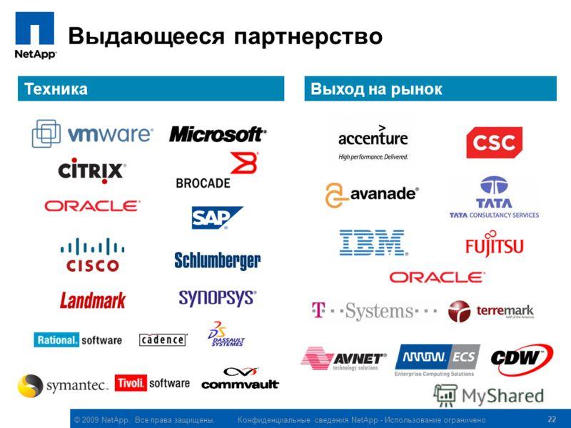 © 2009 NetApp. Все права защищены. 22 Выдающееся партнерство ТехникаВыход на рынок Конфиденциальные сведения NetApp - Использование ограничено