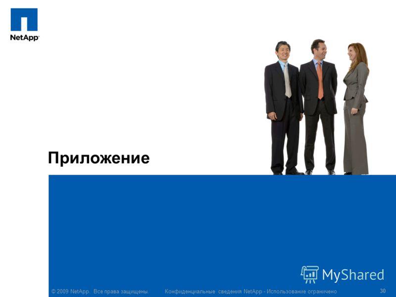 © 2009 NetApp. Все права защищены. Конфиденциальные сведения NetApp - Использование ограничено 30 Приложение