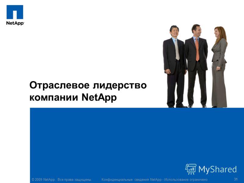 © 2009 NetApp. Все права защищены. Конфиденциальные сведения NetApp - Использование ограничено 31 Отраслевое лидерство компании NetApp