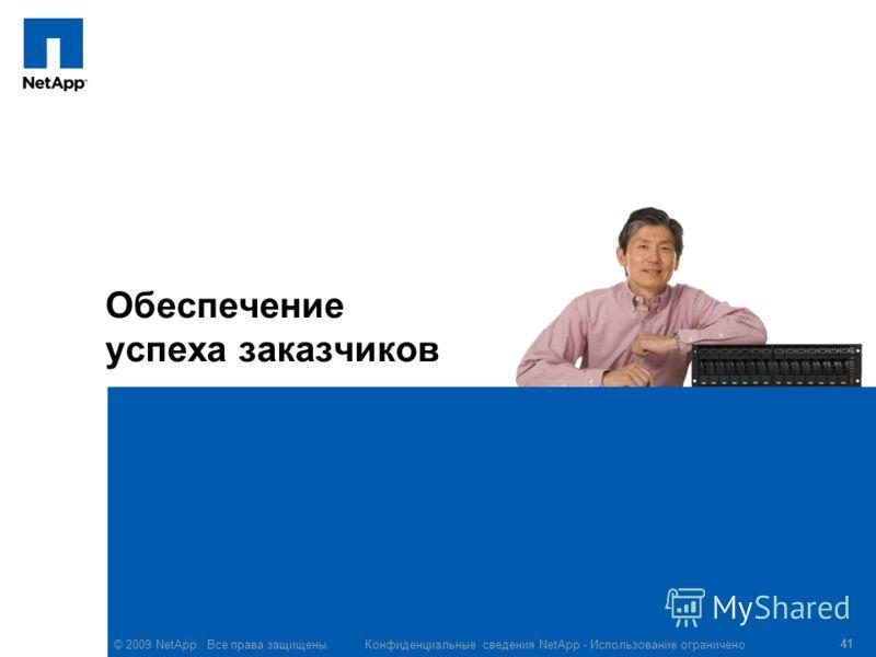 © 2009 NetApp. Все права защищены. Конфиденциальные сведения NetApp - Использование ограничено 41 Обеспечение успеха заказчиков