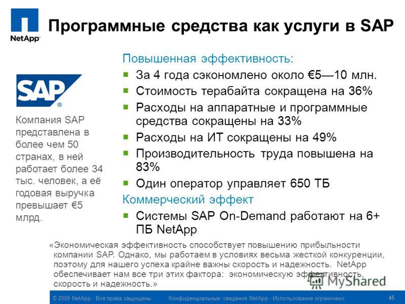 © 2009 NetApp. Все права защищены. Конфиденциальные сведения NetApp - Использование ограничено 45 Программные средства как услуги в SAP Повышенная эффективность: За 4 года сэкономлено около 510 млн. Стоимость терабайта сокращена на 36% Расходы на апп
