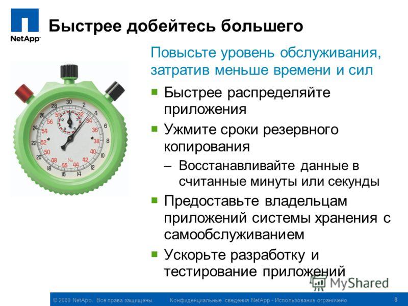© 2009 NetApp. Все права защищены. Конфиденциальные сведения NetApp - Использование ограничено 8 Быстрее добейтесь большего Быстрее распределяйте приложения Ужмите сроки резервного копирования –Восстанавливайте данные в считанные минуты или секунды П