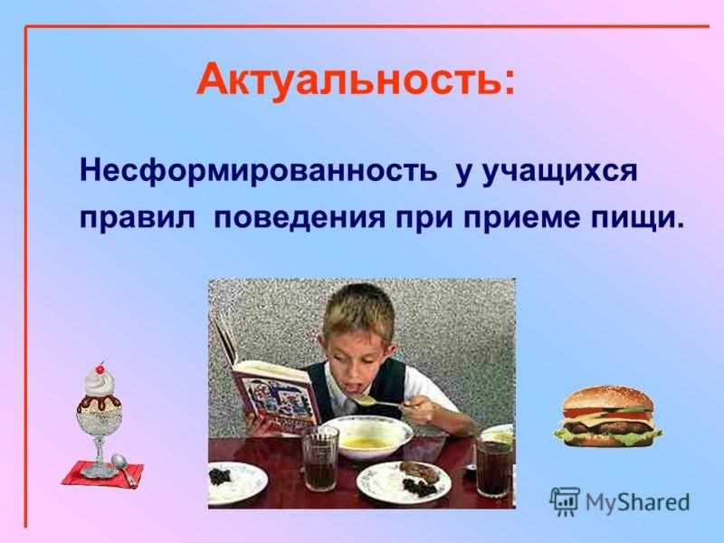 Актуальность: Несформированность у учащихся правил поведения при приеме пищи.