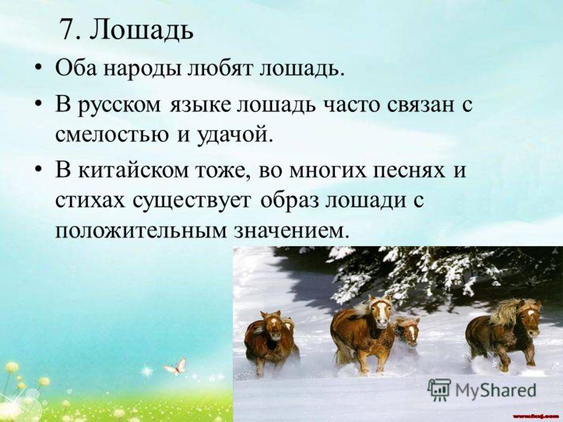 7. Лошадь Оба народы любят лошадь. В русском языке лошадь часто связан с смелостью и удачой. В китайском тоже, во многих песнях и стихах существует образ лошади с положительным значением.