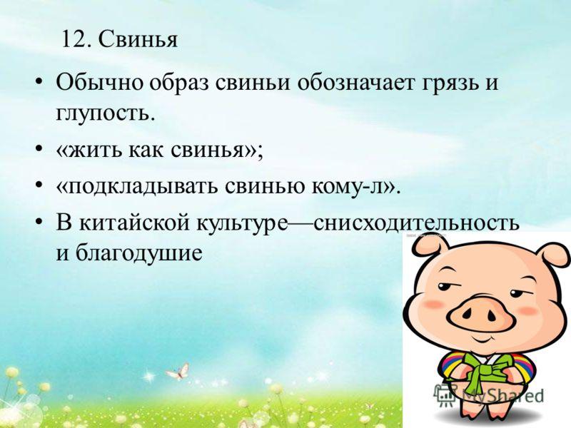 12. Свинья Обычно образ свиньи обозначает грязь и глупость. «жить как свинья»; «подкладывать свинью кому-л». В китайской культуреснисходительность и благодушие