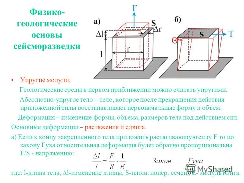 Физико- геологические основы сейсморазведки Упругие модули. Геологические среды в первом приближении можно считать упругими. Абсолютно-упругое тело – тело, которое после прекращения действия приложенной силы восстанавливает первоначальные форму и объ