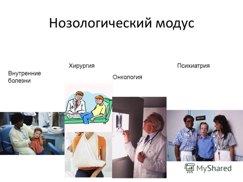 Нозологический модус Внутренние болезни Хирургия Онкология Психиатрия