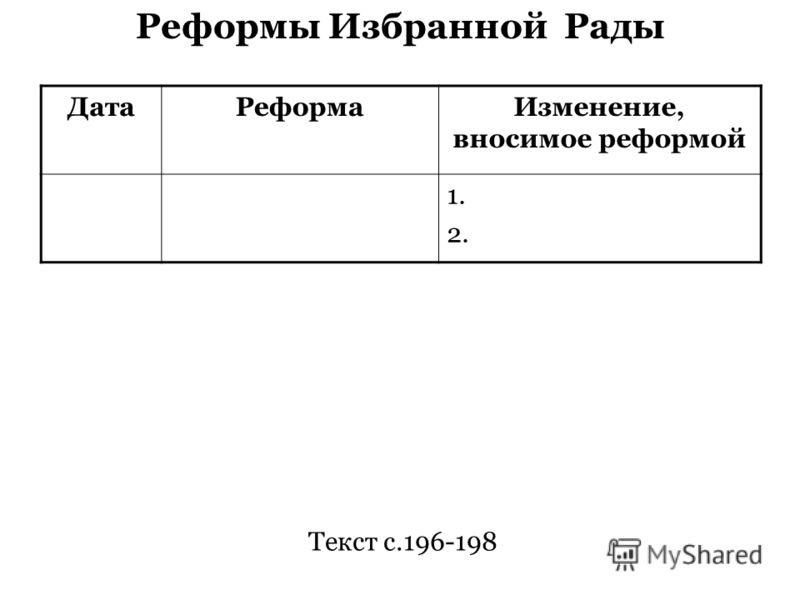 Реформы Избранной Рады ДатаРеформаИзменение, вносимое реформой 1. 2. Текст с.196-198