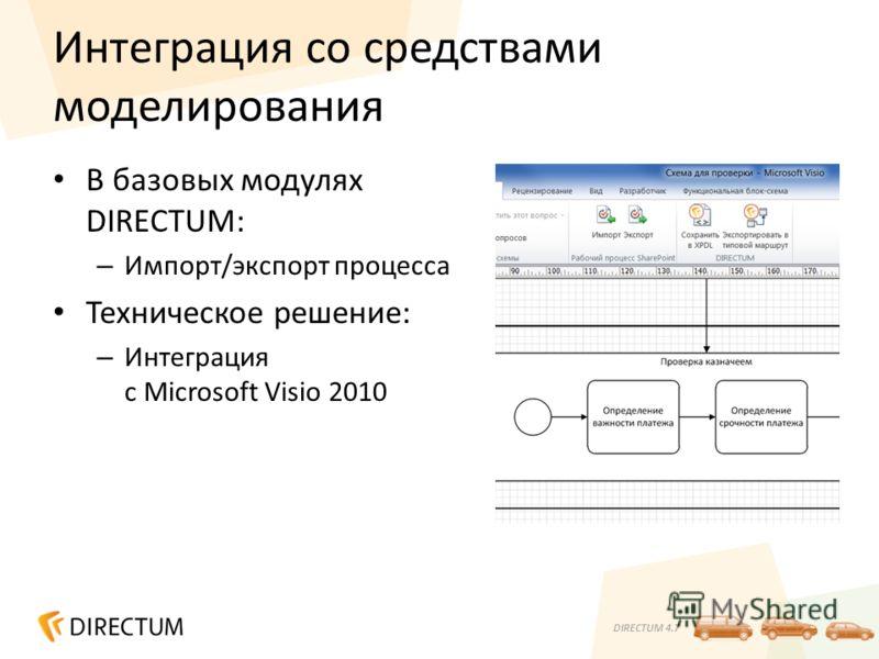 DIRECTUM 4.7 Интеграция со средствами моделирования В базовых модулях DIRECTUM: – Импорт/экспорт процесса Техническое решение: – Интеграция с Microsoft Visio 2010