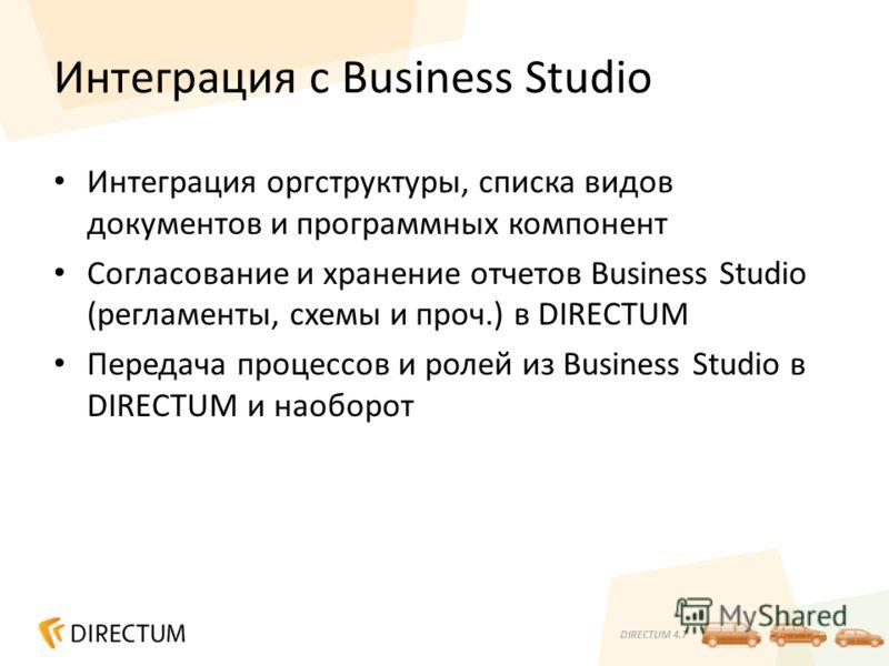 DIRECTUM 4.7 Интеграция с Business Studio Интеграция оргструктуры, списка видов документов и программных компонент Согласование и хранение отчетов Business Studio (регламенты, схемы и проч.) в DIRECTUM Передача процессов и ролей из Business Studio в