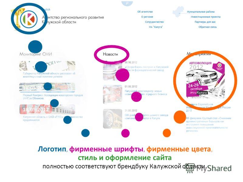 Логотип, фирменные шрифты, фирменные цвета, стиль и оформление сайта полностью соответствуют брендбуку Калужской области.