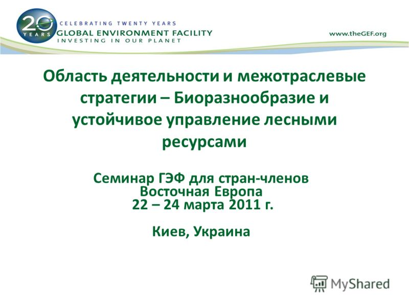 Область деятельности и межотраслевые стратегии – Биоразнообразие и устойчивое управление лесными ресурсами Семинар ГЭФ для стран-членов Восточная Европа 22 – 24 марта 2011 г. Киев, Украина
