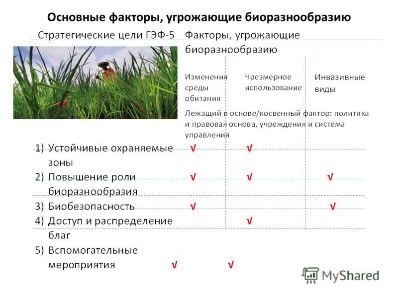 Основные факторы, угрожающие биоразнообразию
