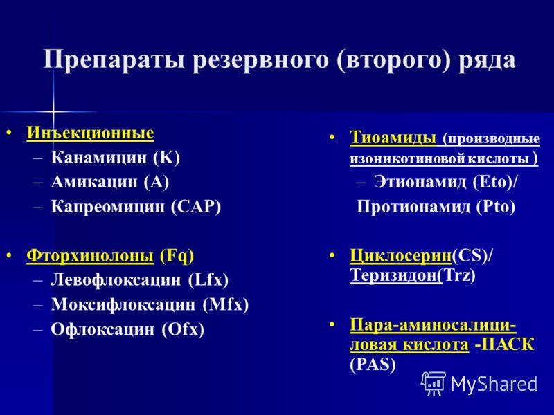 Инъекционные –Канамицин (K) –Амикацин (A) –Капреомицин (CAP) Фторхинолоны (Fq) –Левофлоксацин (Lfx) –Моксифлоксацин (Mfx) –Офлоксацин (Ofx) Препараты резервного (второго) ряда Тиоамиды (производные изоникотиновой кислоты ) –Этионамид (Eto)/ Протионам