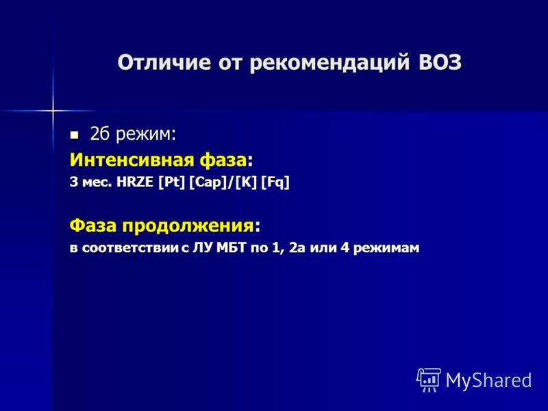 Отличие от рекомендаций ВОЗ 2б режим: 2б режим: Интенсивная фаза: 3 мес. HRZE [Pt] [Cap]/[K] [Fq] Фаза продолжения: в соответствии с ЛУ МБТ по 1, 2а или 4 режимам
