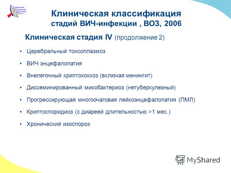 Клиническая классификация стадий ВИЧ-инфекции, ВОЗ, 2006 Клиническая стадия IV (продолжение 2) Церебральный токсоплазмоз ВИЧ энцефалопатия Внелегочный криптококкоз (включая менингит) Диссеминированный микобактериоз (нетуберкулезный) Прогрессирующая м