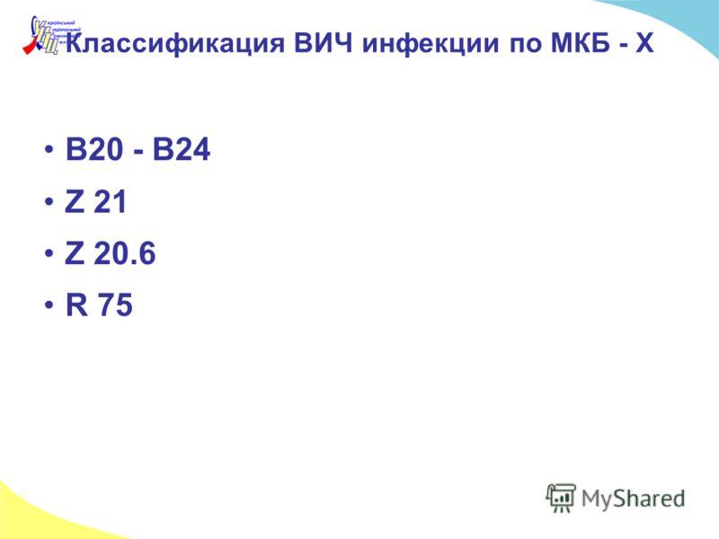 Классификация ВИЧ инфекции по МКБ - Х В20 - В24 Z 21 Z 20.6 R 75