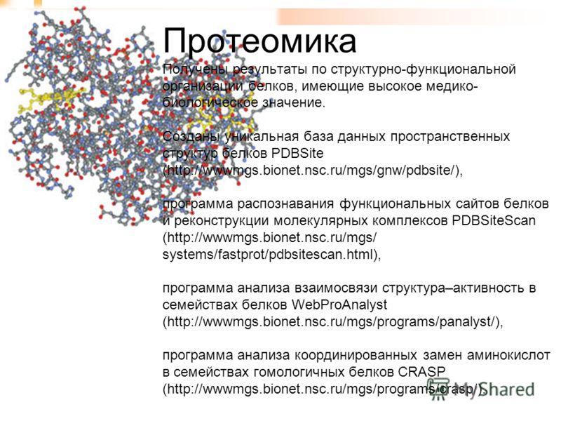 Протеомика Получены результаты по структурно-функциональной организации белков, имеющие высокое медико- биологическое значение. Созданы уникальная база данных пространственных структур белков PDBSite (http://wwwmgs.bionet.nsc.ru/mgs/gnw/pdbsite/), пр