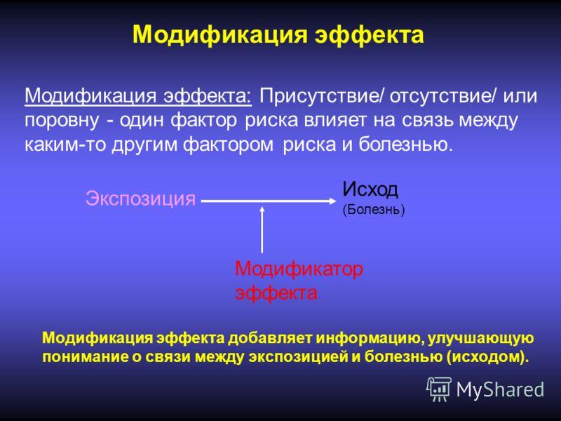 Модификация эффекта Модификация эффекта: Присутствие/ отсутствие/ или поровну - один фактор риска влияет на связь между каким-то другим фактором риска и болезнью. Экспозиция Исход (Болезнь) Модификатор эффекта Модификация эффекта добавляет информацию