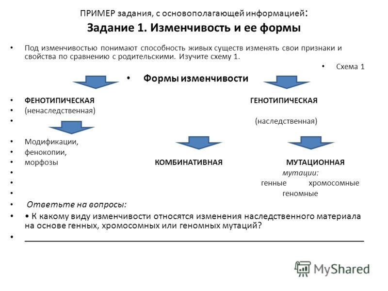 Схема 1 Формы изменчивости