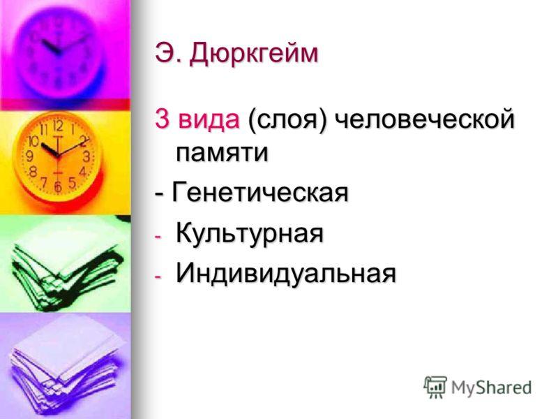 Э. Дюркгейм 3 вида (слоя) человеческой памяти - Генетическая - Культурная - Индивидуальная