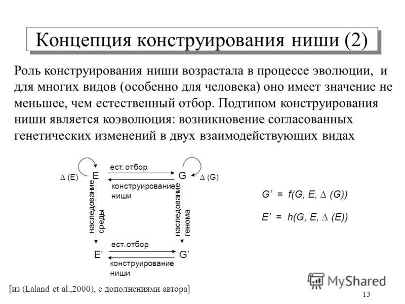 13 Концепция конструирования ниши (2) E E G G (E) (G) ест. отбор конструирование ниши ест. отбор E = h(G, E, (E)) G = f(G, E, (G)) наследование генома наследование среды [из (Laland et al.,2000), с дополнениями автора] Роль конструирования ниши возра